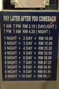 Carpark rates, Mersing Jetty, Johor, Malaysia
