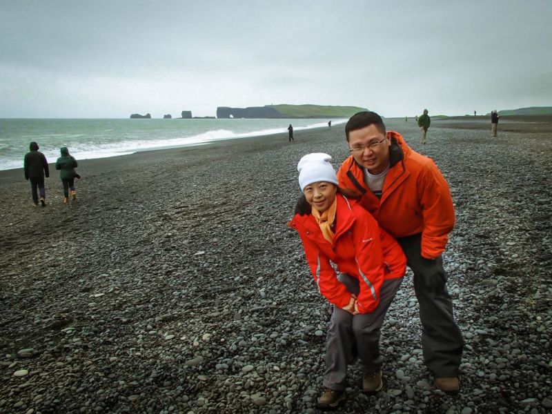 Reynisfjara (black sand beach). The most renowned black sand beach in Iceland.