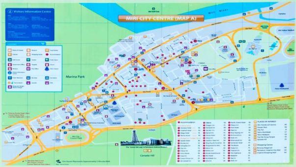 Tourist Map of Miri city centre, Sarawak (Malaysia)