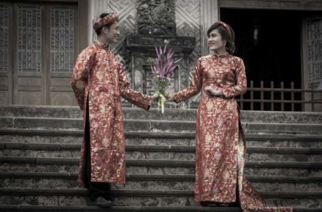 Khai Dinh's Tomb. A popular venue for wedding photography. (Hue, Central Vietnam)