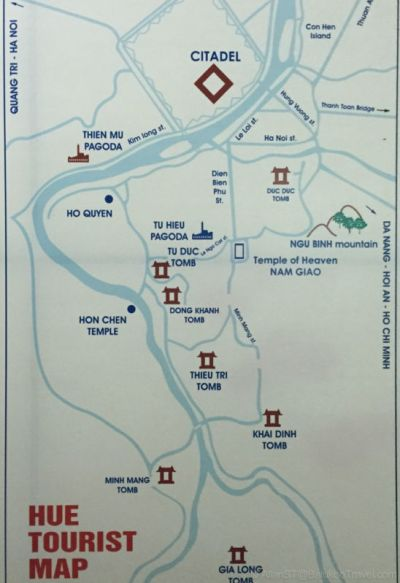 Hue Tourist Map showing the key tourist attractions. Vietnam.