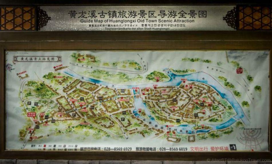 Tourist map of HuangLongXi Ancient Town (Chengdu, China)