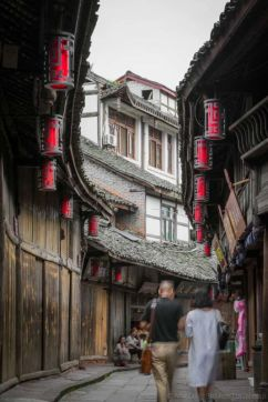 Cobbled street in HuangLongXi Ancient town (Chengdu, China)