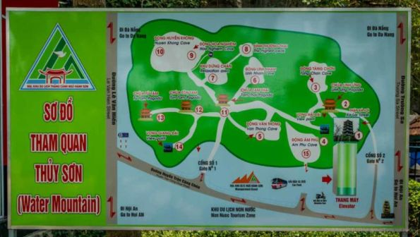 Tourist map of Water Mountain. Marble Mountains is a cluster of 5 marble/limestone hills in Da Nang. (Vietnam)