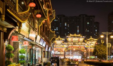 Chengdu's popular QinTai Road is lined with preserved buildings on both sides, most of which are hotpot restaurants, tea houses and Sichuan opera venues. (Chengdu, China)