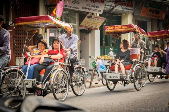 Tourist on Cyclo. Hanoi Old Quarter (Vietnam)
