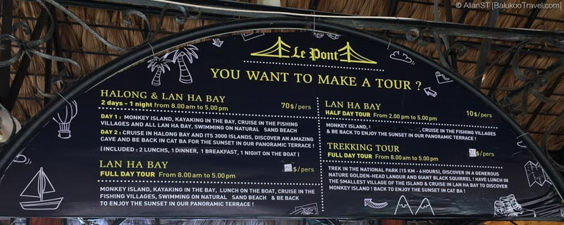 Typical tours available from Cat Ba Island