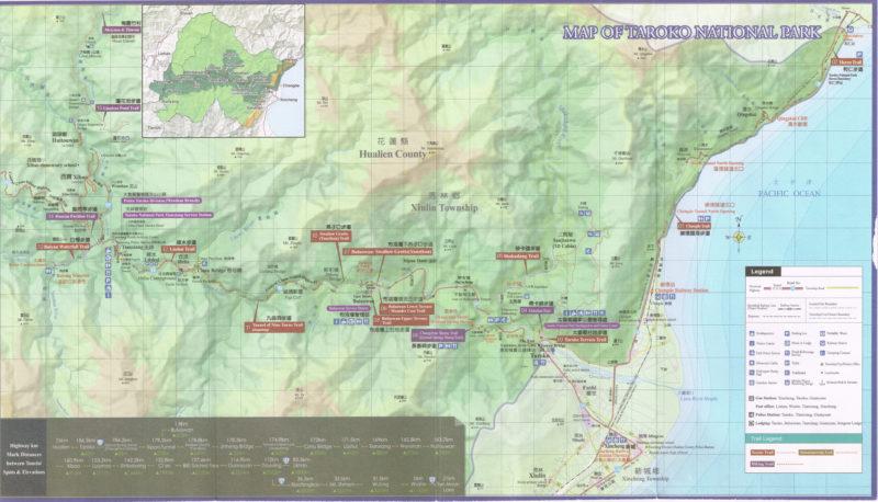 Map of Taroko Gorge (scanned brochure)