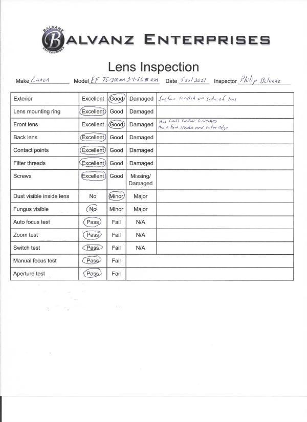 Canon EF 75-300mm lens inspection