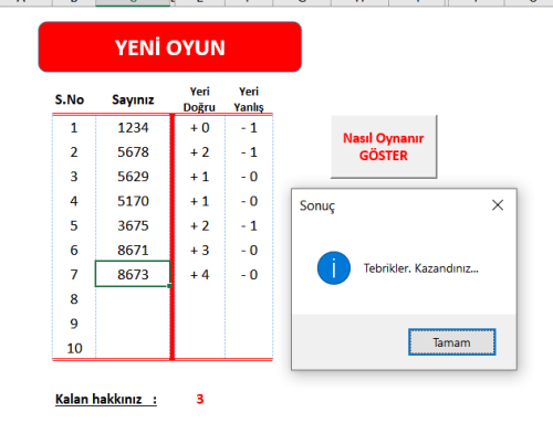 Sayı Yakalamaca (Excel)