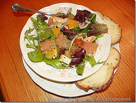 Citrus chicken salad with cheese toast