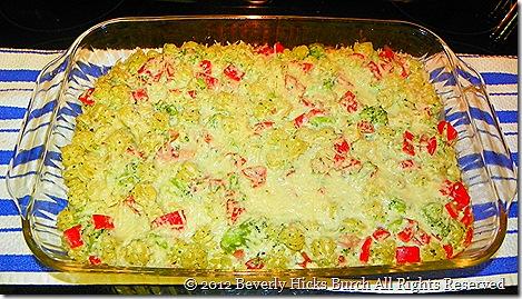 creamy pasta, bacon and vegetable bake