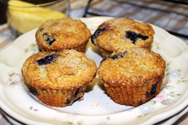 Blueberry-Pecan Sour Cream Muffins