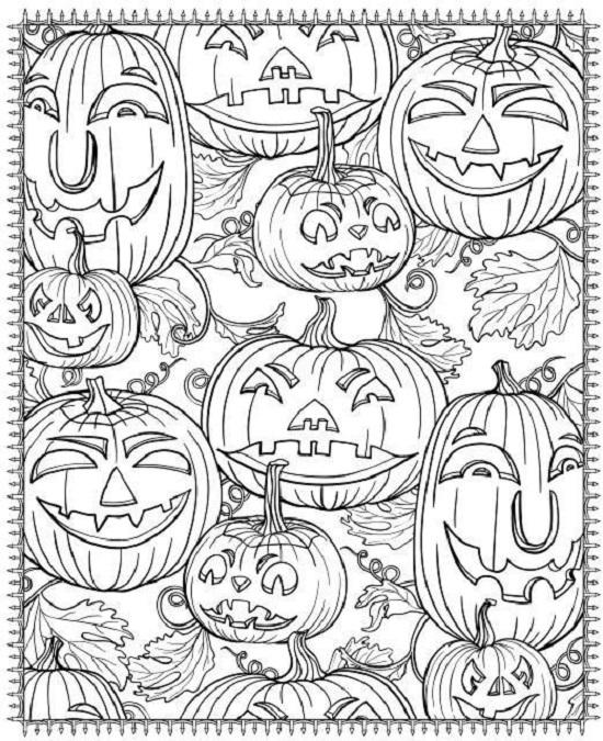 Zucche di Halloween: disegno da colorare