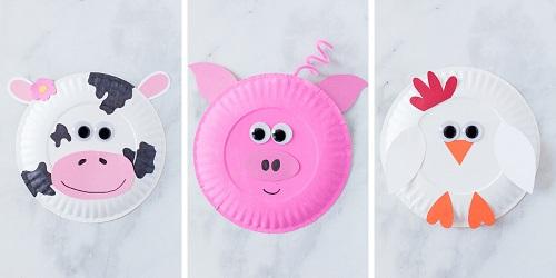 Animali della fattoria con i piatti di carta