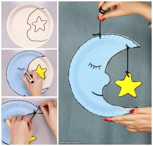 Lavoretti con piatti di carta, luna e stelle