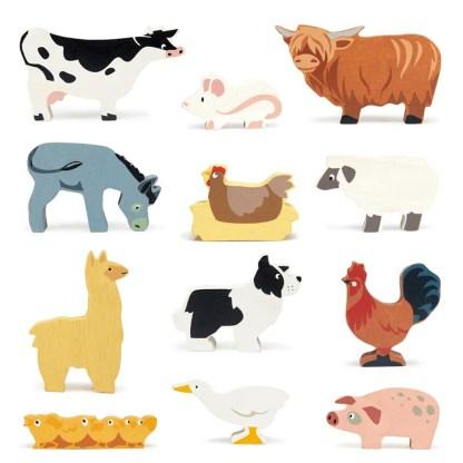 tender leaf toys farm animals set of 12 group