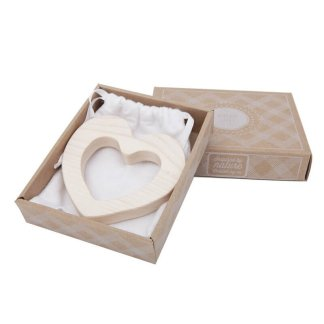 wooden story heart teether in box