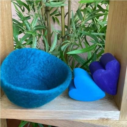 turquoise blue felt bowl