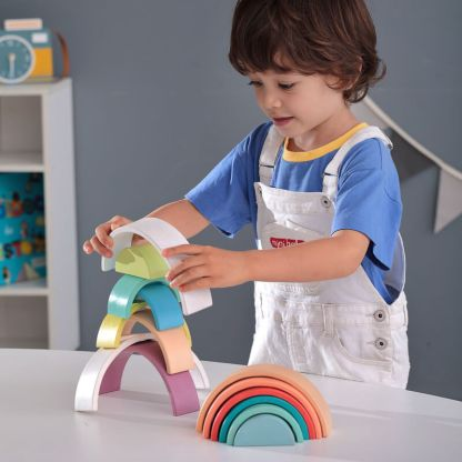 playing with rainbow stackers 2