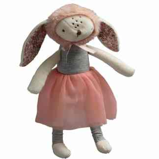 bunny with bonnet rattle nordic kids