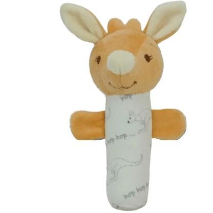 baby kangaroo hand stick rattle 17cm