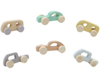 6 wooden cars