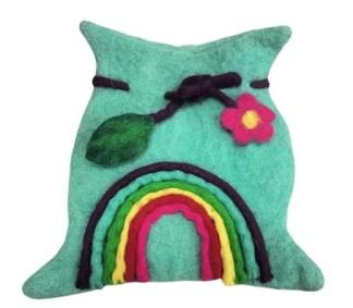 rainbow felt pouch