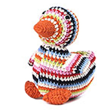 multi coloured crochet duck
