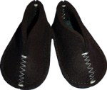 Black baby slippers by Pia Wallen