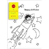 Rocket Colouring-in Card