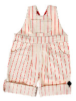 katvig - high summer cream red stripe dungarees
