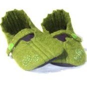 Arwen--Wool Felt Baby Shoes--Moss