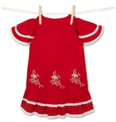zoom 3 of 11 < Previous Next >30-163649-07 Girl's Embroidered Dress in Red & Cream
