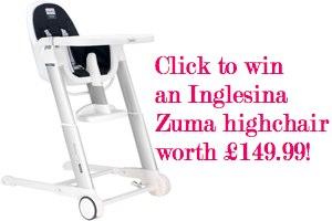click to win an inglesina zuma highchair worth £149.99