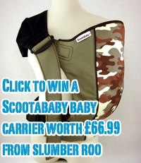click to win a scootababy baby carrier worth £66.99 from slumber roo