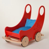 Red Wooden Cradle Pram