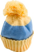 Banana and light blue stripe bobble hat by Snadi