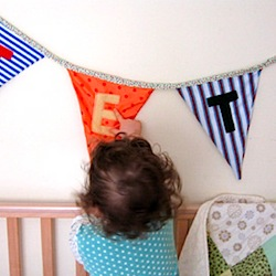 baby's bunting from vintage and recycled fabric