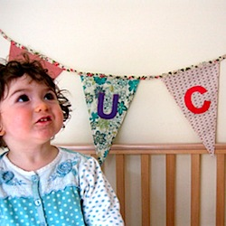 baby's bunting made from recycled and reclaimed fabric