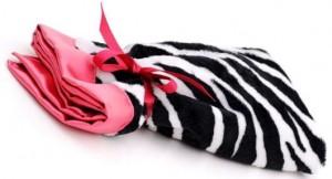 Swankie Blankie Zebra Hot Pink Satin