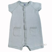 Grey striped towelling romper suit by petit bateau