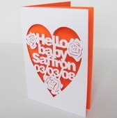 Personalised Hand-cut New Baby Card