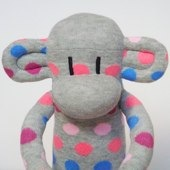 Grey Spotty Sock Monkey