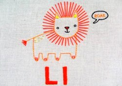 L Lion PDF file embroidery pattern
