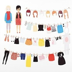 Dress up Dolls - Adhesive Fabric Wall Stickers / Decals by lovemaestore on etsy
