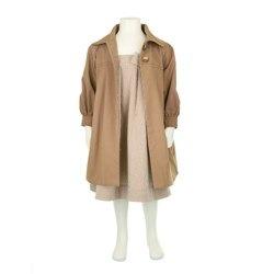 hucklebones coat and dress in summer fawn