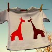 2 Giraffes Organic Cotton Baby T Shirt by Nell Smith