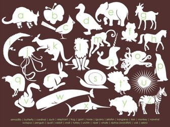 Modern Animal Alphabet - 8x10 Print - Chocolate Brown and Green