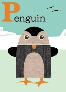letter p penguin print by jenn ski